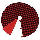 Firlar 48 Inch Christmas Tree Skirt, Red and Black Buffalo Plaid Xmas Tree Skirt Holiday Tree Ornaments for Christmas Day