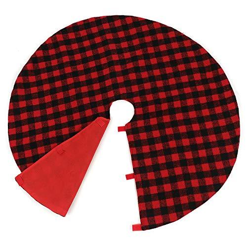 Firlar kerstboom lam kasjmier geruite rok Mat voor vakantie partij decoratie, kerstboom rok met rode en zwarte Check Tree Rok