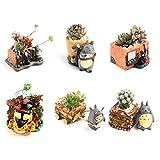 AYUSHOP Macetas Polirresina Totoro Set Macetas Suculentas 6pcs Maceteros Decorativos Ideal para El Hogar, Oficina, Interiores, Exteriores, Decoración del Jardín