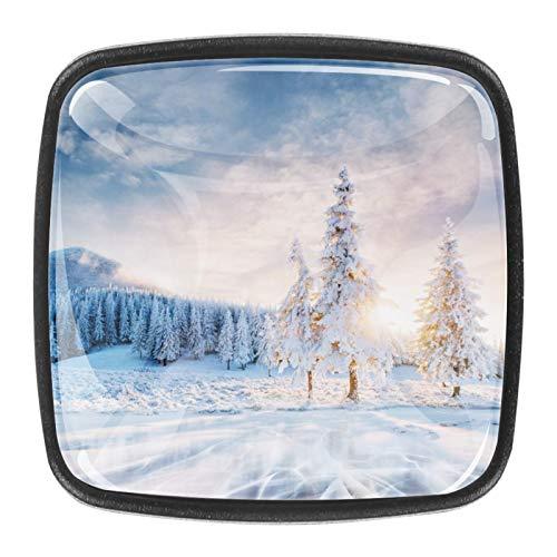paesaggio maestose montagne in inverno Magico albero innevato Pomelli per Porta 4 Pezzi Manopole per Mobili da Cucina Pomelli per Mobili Pomelli Per Cassetti/Cucina/Armadio Antichi