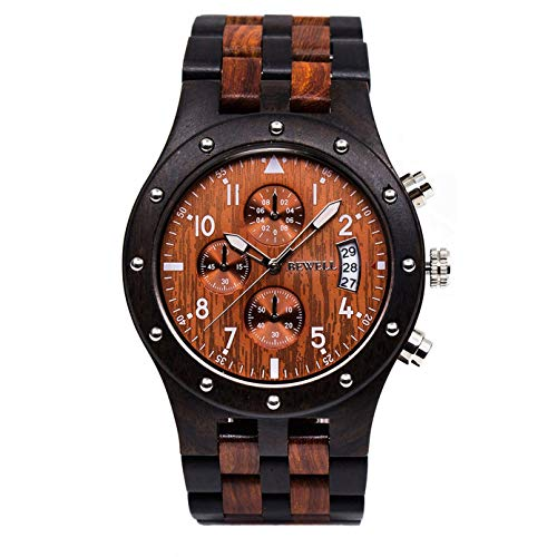 Bewell Orologi multifunzionali da lavoro in legno luminosi con datario cronometro per gli uomini, grande orologio da polso rotondo nero e rosso da notte