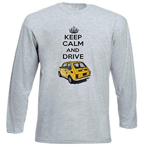 TEESANDENGINES Fiat 126 P Keep Calm 1 Tshirt da Uomo Grigia con Manica Lunga Size Medium