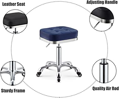 Vanity Chairs, Square Ottoman Foot Rest, Makeup Stool Adjustable Swivel Stool,Navy Blue