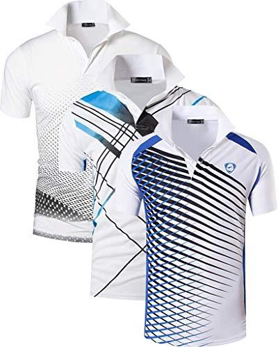 jeansian 3 Packs Uomo Allenarsi Sportivo Poliestere Asciugatura Rapida Camicie Workout Polo Shirt T-Shirts LSL195 MixPackG M