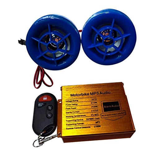 #N/a Motocicleta ATV Bicicleta Sistema de Audio Manillar Radio FM Altavoces Estéreo MP3 - Azul