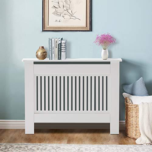 TUKAILAi Modern Radiator Cover Cabinet MDF Cabinet Home Furniture Radiator Protection Vertical Slat Cabinet Radiator Shelve for Living Room/Bedroom/Kitchen White Medium