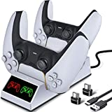 PS5 Charging Station, PS5 Controller Charger with Dual Charging Ports, BEBONCOOL Playstation 5 Controller Charger Include Separate USB Receivers, 5V/2A Charging Cable for PS5 Controller-White