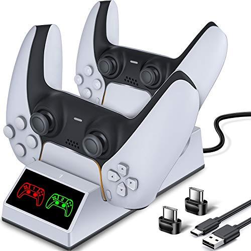BEBONCOOL PS5 Controller Ladestation, PS5 Ladestation Controller mit 2 Type-C Ladeanschlüssen LED Anzeige Ladestation für Sony DualSense, PS5 Ladestation für Sony DualSense Wireless Controller Weiß