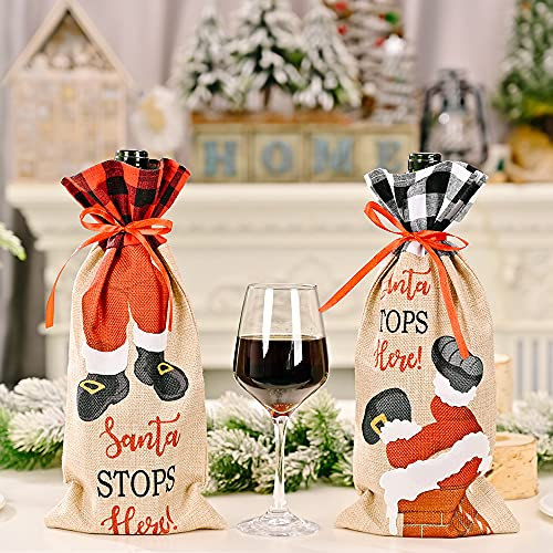 2 piezas de Navidad botella de vino, patrones de Papá Noel, soporte para botellas de vino, suéter, bolsa de botella de vino, bolsas para decoraciones de Navidad Año Nuevo