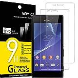 NEW'C 2 Stück, Schutzfolie Panzerglas für Sony Xperia M2, Frei von Kratzern, 9H Festigkeit, HD Bildschirmschutzfolie, 0.33mm Ultra-klar, Ultrawiderstandsfähig