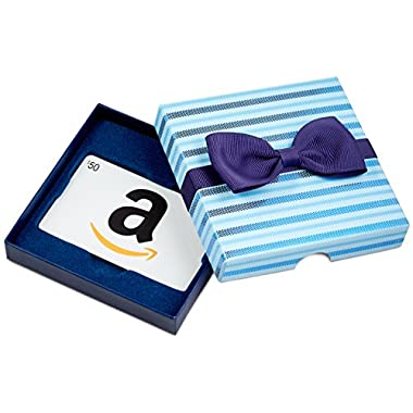 Amazon.com $50 Gift Card in a Blue Bow-Tie Box (Classic White Card Design)