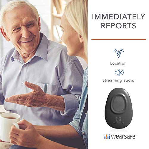 Wearsafe Personal Emergency Response Tag Lifetime Edition - Immediate Panic Button - Medical Response Wearable - One Touch Security Alert System (Charcoal)