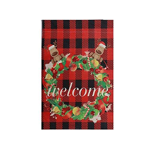 Guirnalda de Navidad con diseño de bandera de búfalo rojo de bienvenida