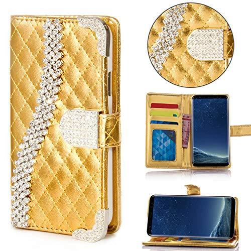 numerva Samsung Galaxy S3 Hülle, Strass Schutzhülle [Bling Hülle, Standfunktion, Kartenfach] PU Leder Tasche für Samsung Galaxy S3 Neo Handytasche Cover [Gold]