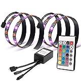 Kohree LED テープライト RGB テレビバックライト 0.5Mx2本 PC照明 調光調色 リモコン付き イルミネーション 間接照明 USB接続 疲れ目に効く 強粘着テープ仕様 2A 5V電源 カラフル 防水防塵 屋内外装飾