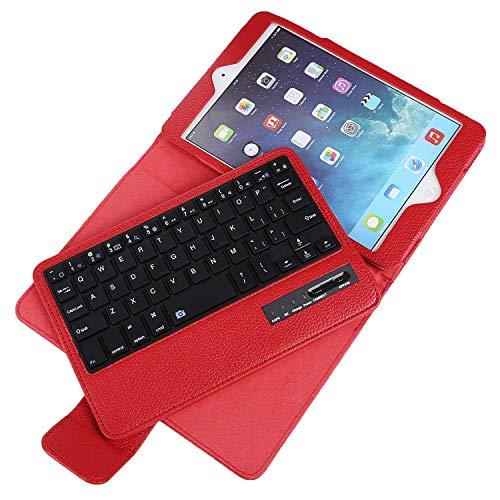 Keyboard Case for iPad Mini 1 2 3 4 5 with Detachable Wireless Keyboard, Ultra Slim PU Leather Folio Stand Cover for iPad Mini1/2/3/4/5, Red