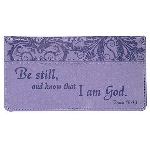 """Checkbook Cover for Women & Men """"Be Still"""" Christian Purple Wallet, Faux Leather Christian Checkbook Cover for Duplicate Checks & Credit Cards - Psalm 46:10"""