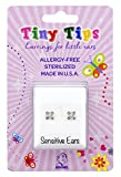 STUDEX Tiny Tips Stud Earrings Tiffany Setting Hypoallergenic for Little Sensitive Ears 4mm Cubic-Zirconia