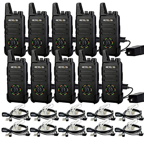 Retevis RT22S 2 Way Radios Walkie Talkies Long Range,Two Way Radios Rechargeable with Earpiece,Channel Display,Hands Free,for Healthcare,Retail,Restaurant,Automotive(10 Pack)