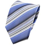TigerTie Cravatta in seta - blu grigio crema antracite striato - Cravatta in seta