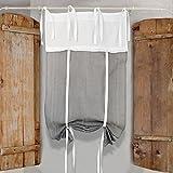GLShabby Tenda Finestra Shabby Chic con Rouches 60 x 150 Colore Bianco Grigio Chiaro