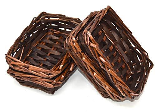 Lashuma, cestini decorativi in vimini, rettangolare, dimensioni: 10 x 15 cm, set per cesto pasquale, Legno, beige., Set da 4