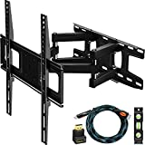 C-MOUNTS Full Motion TV Wall Mount Bracket with Articulating Dual Arm Swivel and Tilt fit 26 to 55 Inch Flat Screen TVs,Max VESA 400X400 and 110lbs,Fits up to 16' Studs