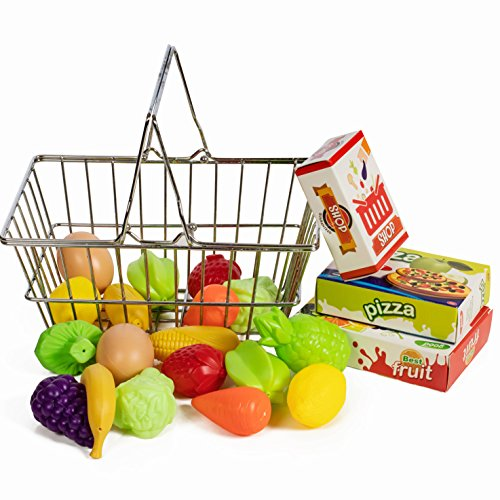 IQ Toys Stainless Steel Pretend Shopping Basket with Hard Plastic Play Food, 21 Piece Fake Food and Accessories Set
