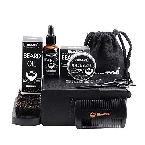wosume Portable Hommes Barbe Styling Shaping Kit, 7 PCS/Set Portable Hommes Barbe Styling Shaping Cire Brosse À Huile Peigne Ciseaux Moustache Outil De Soins des Cheveux
