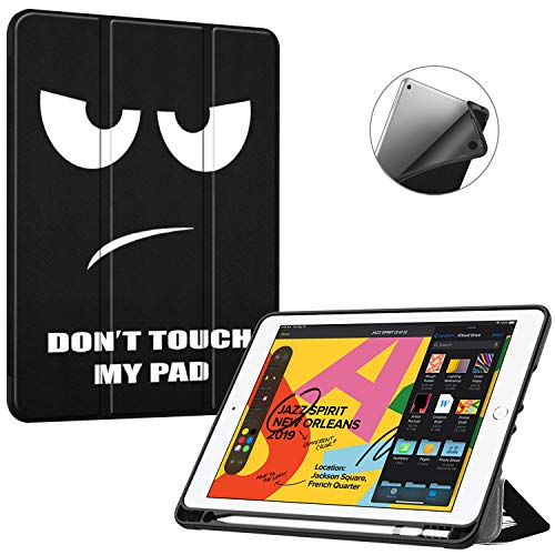 Fintie SlimShell Case for New iPad 7th Generation 10.2 Inch 2019 with Built-in Pencil Holder - Smart Stand Soft TPU Back Cover, Auto Wake/Sleep for iPad 10.2' Tablet, Dont Touch
