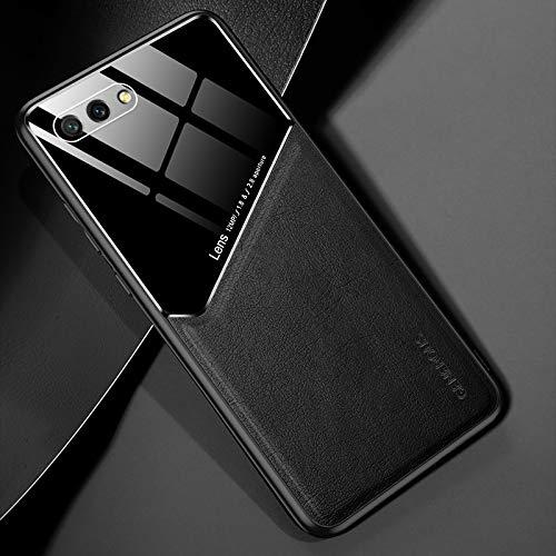 RUNNA para Huawei Honor 10 Cuero Todo Incluido + Funda Protectora de Vidrio orgánico con Chapa de Hierro metálico (Color : Black)