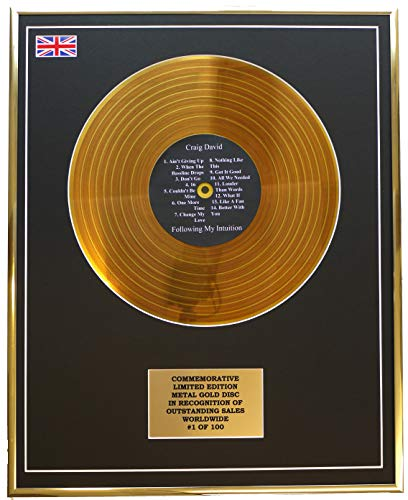 Everythingcollectible Craig David - Following My Intuition/Metall Gold Disc Display Gedenk Limited Edition