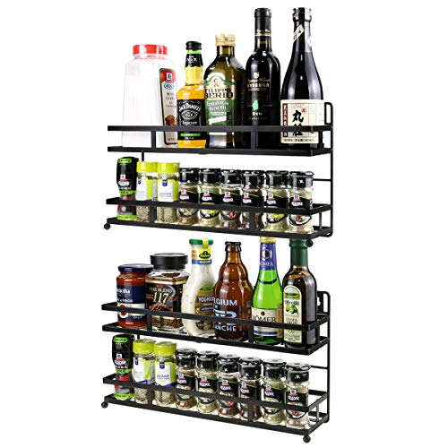 Spice Rack Wall Mounted Countertop or Hanging Seasoning Organizer Shelf for Cabinet Door 2 Tier Kitchen Spice Storage Shelves 2 Pack