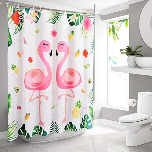 WERNNSAI Cortina Baño de Flamenco - 180 x 180cm Cortina de Ducha con Gancho Cortina Plastico Poliéster Hojas Tropicales Flores Patrones de Piña Decoración