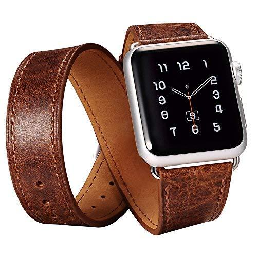 icarercase Apple Watch Banda, Luxury Series de Piel auténtica Reloj Correa de Repuesto Classic Apple iWatch muñeca con Hebilla de Acero Inoxidable para Apple Reloj