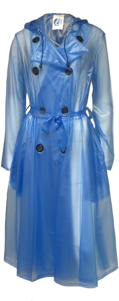 Womens Elements Rainwear Light Blue Semi-Transparent PVC Skirted Raincoat M