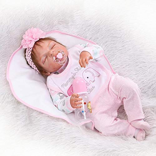 23inch Full Body Silicone Reborn Baby Dolls That Look Real Sleeping Lifelike Baby Doll Handmade Anatomically Correct Baby Girl Doll with Eye Closed