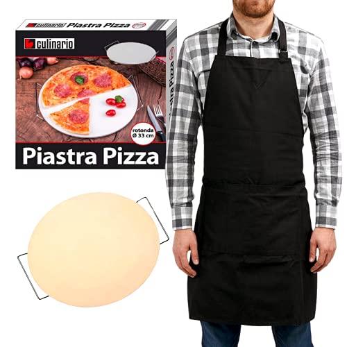 Plato para pizza Ø 33 Grill Mania | Plato refractario para pizza para cocinar de forma óptima pizzas, pan, focaccia sartén redonda apta para cualquier temperatura y cocción + delantal de cocina