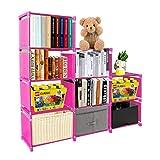 PENGKE Kids Bookshelf 9 Cubes Book Shelf Office Storage Shelf Plastic Storage Cabinet for Book,Plants,Clothes,Shoes,Toys,Pink