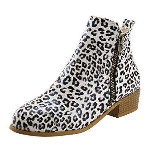 Frauen Warme Winterstiefel Damen Wildleder Quadratische Absätze Mit Schnürung Gefütterte Outdoor Stiefe Schuhe(34.5 EU,Weiß)