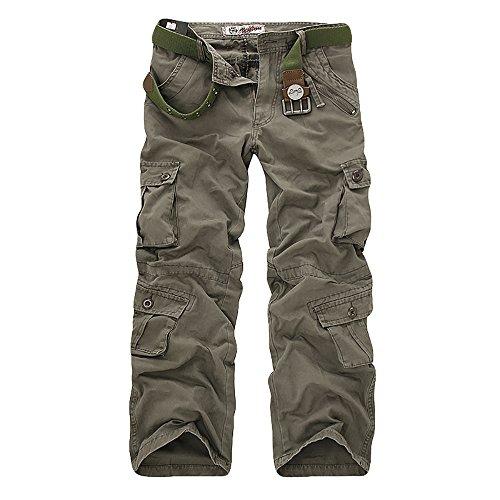 OEAK Homme Cargo Pantalon de Travail Large Vintage Militaire Casual Multi Poches Décontracté Mode Pant Chino Treillis pour Sport Outdoor