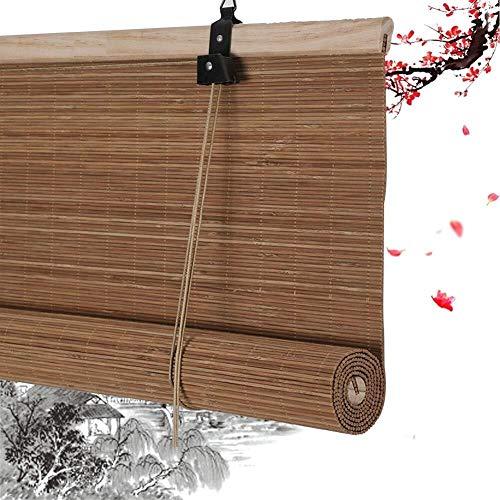 Bamboe Rolgordijn Rolgordijn Bamboe Vouwgordijnen Privacy Blinds Rolgordijnen Houten Rolgordijn - Bruin Rietgordijn Met Trekkoord Eenvoudig Te Monteren 50cm / 60cm / 80cm / 100cm Breed (80x160cm)