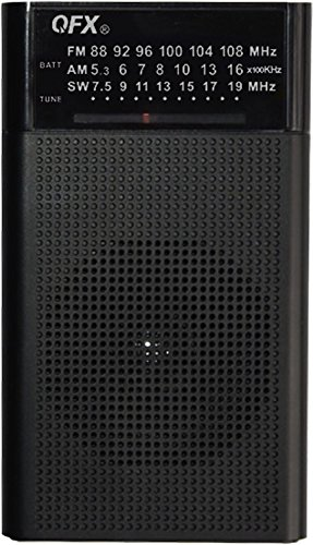 QFX R-35 - Radio portátil de Onda Corta, Color Negro