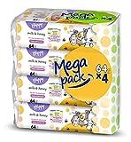 bella baby Happy Toallitas húmedas con leche y miel, 4 unidades (4 x 64 unidades) versátiles, suaves y suaves para la piel del bebé.