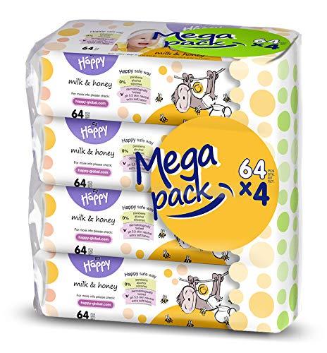 bella baby Happy Lot de 4 paquets de 64 lingettes humides au lait et au miel, douces pour la peau de bébé