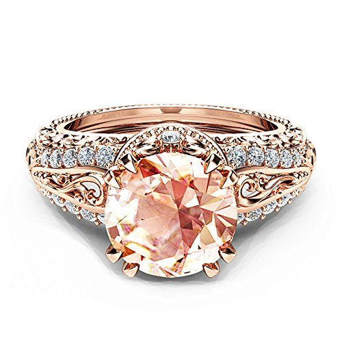 Jalash Round Cut Vintage Style Wedding Engagement Band Ring with Created Morganite & CZ in 14k Rose Gold Plating (9)