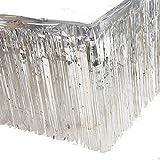 2 Packs Metallic Foil Fringe Table Skirt 29x108-Inch Silver Tinsel Table Skirts for Rectangle Tables