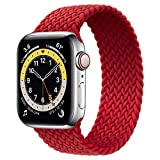 WAAILU Solo Loop Braided Band Woven Compatible for Apple Watch SE Series 6 40mm 44mm Compatible for Iwatch 5/4/3/2/1 38mm 42mm-(Red-42/44-4)