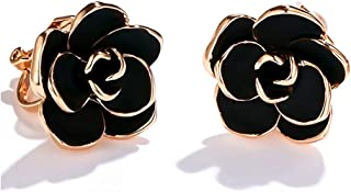Acefeel 18K Rose Gold Plated Big Rose Flower Clip On Earrings with Black Enamel for Women 15mm