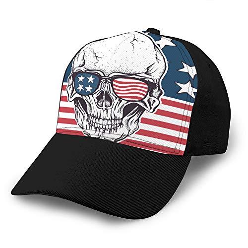 89 Sombrero clásico de algodón para papá Gorra Lisa Ajustable Gorra de béisbol de Mezclilla Personalizada para Adultos Cráneo Americano con Gafas de Sol en la Bandera de EE. UU. Gorra Snapback